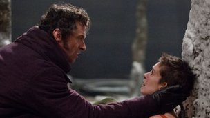 Hugh Jackman and Anne Hathaway in Les Miserables