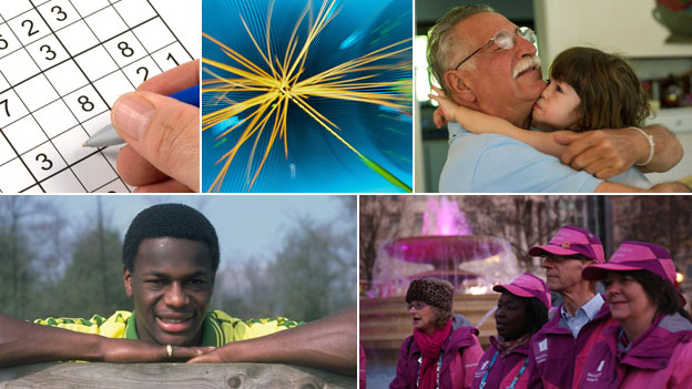Clockwise from top let: Sudoku puzzle, Higgs Boson experiment&#039; Brazil pensioner, London 2012 volunteers, Justin Fashanu