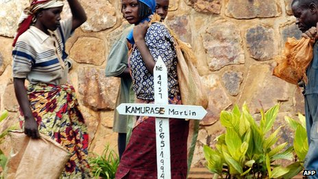 Grave of one of the victims of Rwanda's 1994 genocide