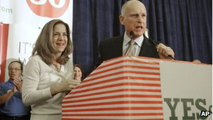 Governor Jerry Brown and his wife Anne thank supporters at an election night party in November