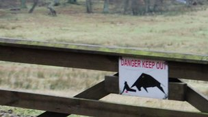 Danger sign on gate