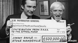 Norman Fowler (l) and Jimmy Savile