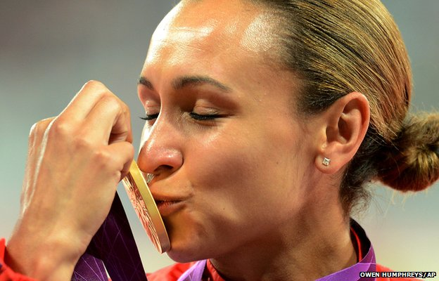 Jessica Ennis collecting her gold medal.