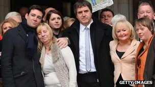 Families of Hillsborough victims with Labour MPs outside the High Court