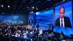 Russia&#039;s President Vladimir Putin holds the first major press conference of his third term in power in Moscow, on December 20, 2012. Putin backed today pending parliamentary legislation that would make it illegal for Americans to adopt Russian children in reprisal for a new Washington human rights law.