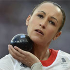 Jessica Ennis with shotput at London 2012 Games