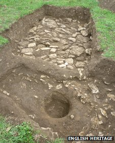 An illegal trench dug during Cox and West's campaign of looting at the Roman town