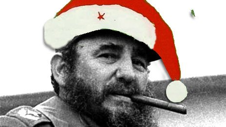 Fidel Castro in Santa hat