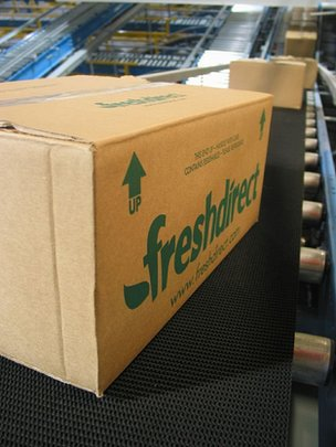 Fresh Direct boxes on production line