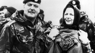 Margaret Thatcher and UK soldiers in the Falklands