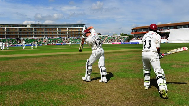 Somerset players take the field at Taunton