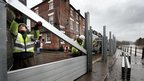 The Environment Agency constructs the Bewdley flood defense barrier as the level of River Severn rises, parts of the UK are braced for further flooding as successive bands of heavy rain move across the country