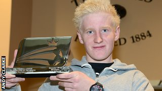 Will Hughes with his young player award