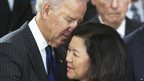 Vice-President Joe Biden comforts Irene Inouye, Washington DC, 20 December 2012