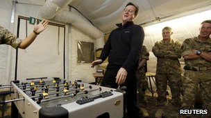 David Cameron plays table football with Royal Marines at Forward Operating Base Price