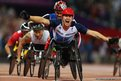 David Weir of Great Britain celebrates winning the Men's 1500m T54 final