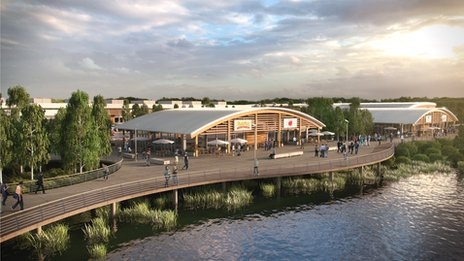 An artist's impression of Rushden Lakes plan