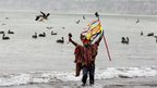A shaman in Peru performed a ceremony intended to prevent the world coming to an end at sunrise in Lima