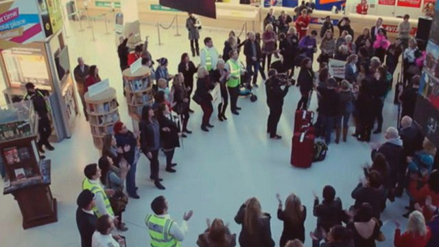 Flash mob in airport