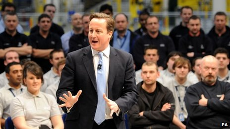 Prime Minister David Cameron speaks to Airbus workers and apprentices on a visit to Broughton in December