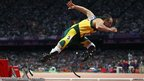 Oscar Pistorius from South Africa in the Men's 400m semi-final on day nine of the London 2012 Olympic Games - 5 August 2012