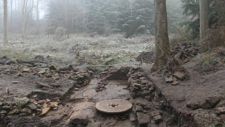 Unearthed water mill on the North York Moors