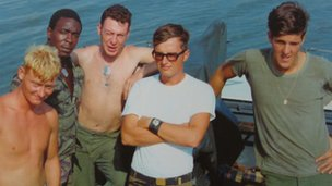 John Kerry (right) and Navy comrades in Vietnam