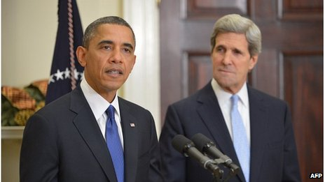 President Barack Obama and John Kerry, 21 Dec 2012