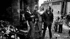 Men showing off a pet goat in east Belfast 1983.