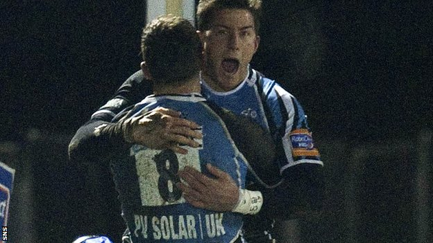 Van der Merwe celebrates his try with Josh Strauss at Scotstoun