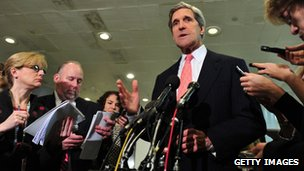 John Kerry speaks to reporters
