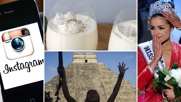 iPhone with Instagram app, eggnog, Miss Universe and Mayans marking the end of their calendar