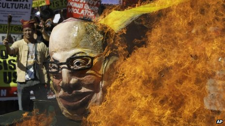 Activists burnt an effigy of Benigno Aquino earlier this month