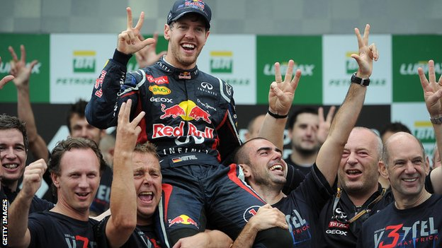 Sebastian Vettel and Red Bull team celebrate winning F1 championship