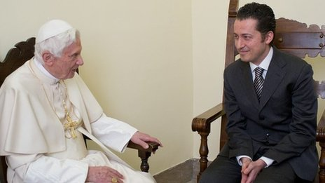 Pope Benedict visits ex-butler Paolo Gabriele in prison to pardon him, 22 December 2012