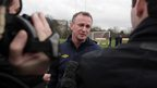 O&#039;Neill answers questions from the media at a Northern Ireland training session before his first game against Norway
