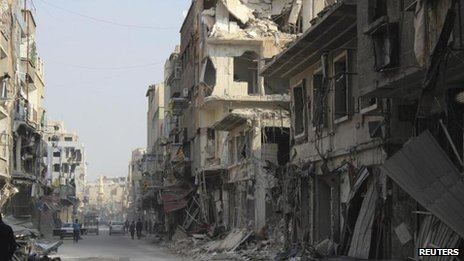 Damage to the Damascus suburb of Douma, 17 December