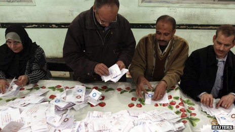 Egyptian officials count ballots in Bani Sweif, south of Cairo