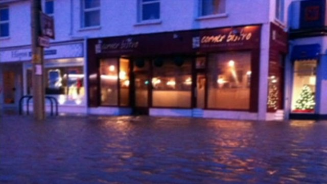 Flood water outside the Corner Bistro, Braunton