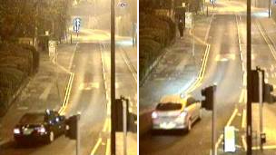 CCTV images of cars being siught by police