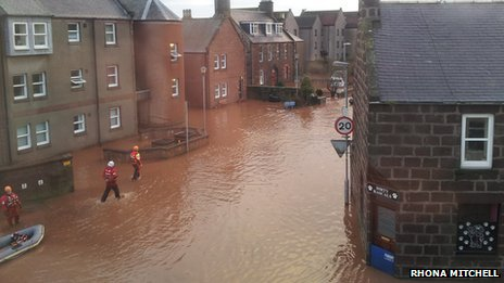 Rescue teams evacuated residents from Bridgefield in Stonehaven