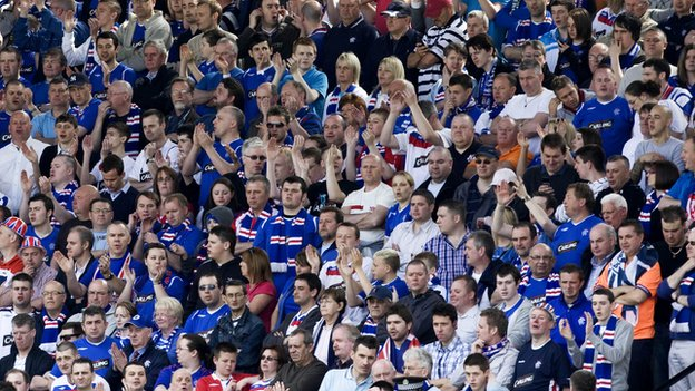 Rangers fans at Tannadice