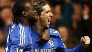 Fernando Tores (right) celebrates scoring for Chelsea