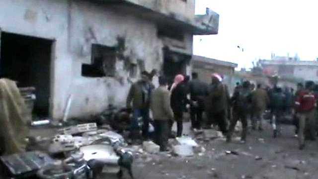 Unverified footage of aftermath of air strike 