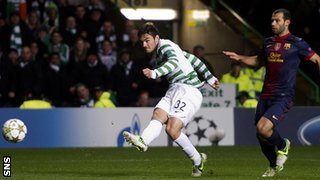 Tony Watt shoots Celtic into a 2-0 lead against Barcelona