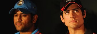 India's Mahendra Dhoni and England's Alastair Cook
