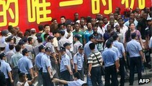 Africans protesting in China's Guangdong province