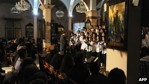 Evening mass at the St. Joseph Church in Damascus