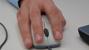 Man using computer