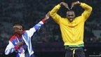 Usain Bolt, right, Mo Farah